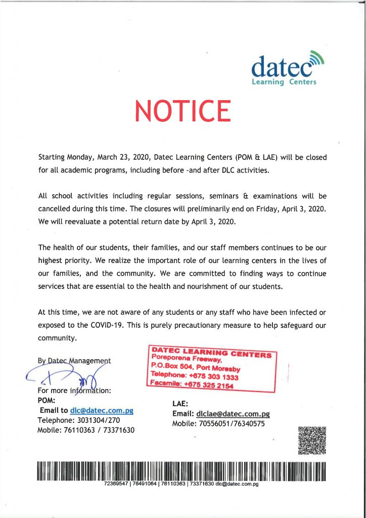 DLC Notice to the students